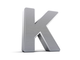Letter K as brushed metal object over white