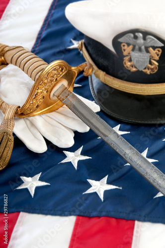 military sword and gloves