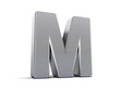 Letter M as brushed metal object over white
