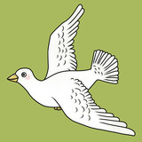 Cartoon illustration of a dove flying