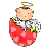 Cartoon illustration of cute angel birth from egg shell