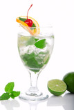 Green Fresh Mojito cocktail with light rum