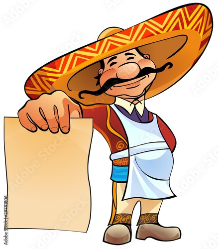happy Mexican chief holds in hand a blank sheet of paper