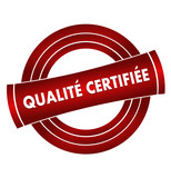 qualité certifiée sur vignette rouge poster