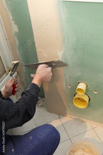 eine ri gips wand wird verputzt von farina3000 lizenzfreies foto 29793027 auf. Black Bedroom Furniture Sets. Home Design Ideas