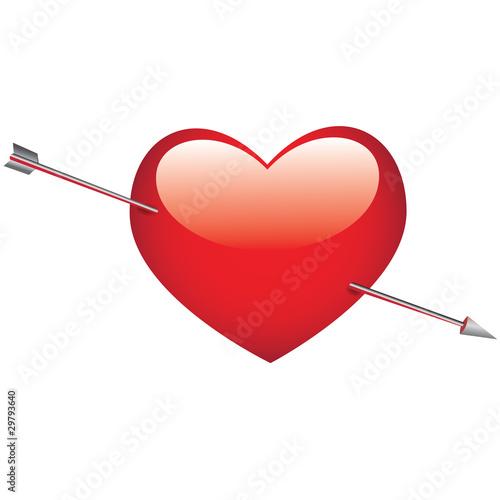 Coeur transpercé par la flèche de Cupidon
