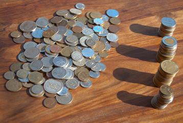 denaro. Cumulo di monete