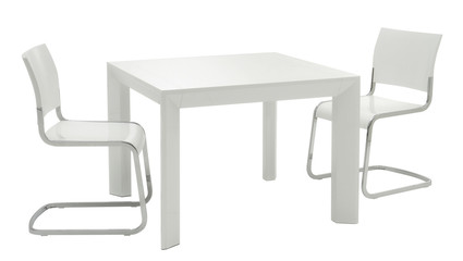 white minimal table and chairs