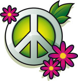 Fototapety Peace sign with pink flowers isolated on white background