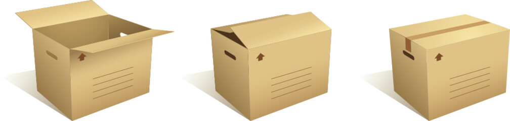 Open and closed cardboard boxes - vector