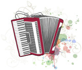 Concert Accordion & floral calligraphy ornament - a stylized orc