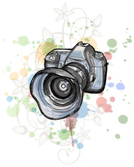 Color draw of a digital photo camera  & floral ornnament