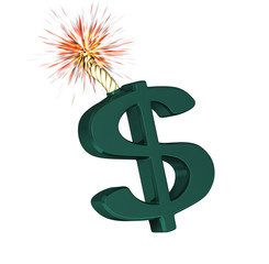 Big Dollar symbol that'll explode on a white background