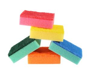 heap of coloured bath sponge