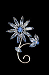 delicate blue vintage flower brooch