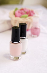 Pink and white enamels for French manicure