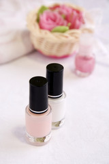 Pink and white enamels for French manicur