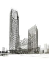 grattacieli illustrazione rendering 3d
