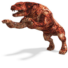 Cerberus - the dog from hell. 3D rendering with clipping path