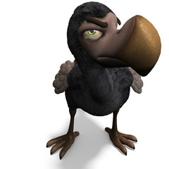 very funny toon Dodo-bird. 3D rendering with clipping path and