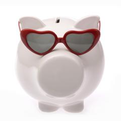 cochon tirelire avec lunettes lolita