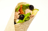 Tuna wrap isolated on white