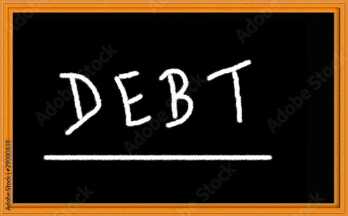 debt on chalkboard