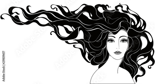 monochrome portrait of a woman with long hair - 29809617