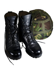 army boots and helmet