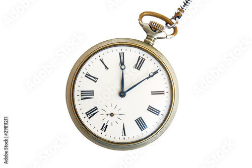 Vintage pocket watch isolated on white