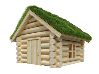 Wooden small house with grassy roof