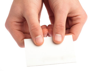 hand showing a card