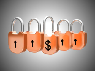 Padlocks concept: US dollar currency safety