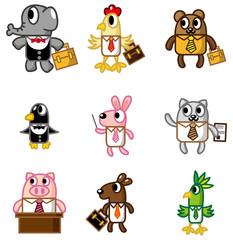 cartoon animal worker icon