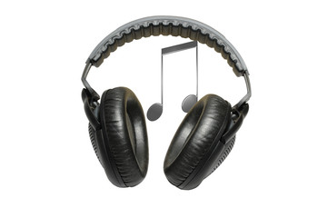 Black professional headphones and music isolated on white