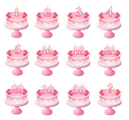 Pink Numbered Birthday Cakes