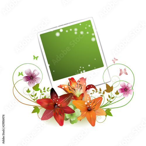 Blank green photo decorated with flowers and butterflies