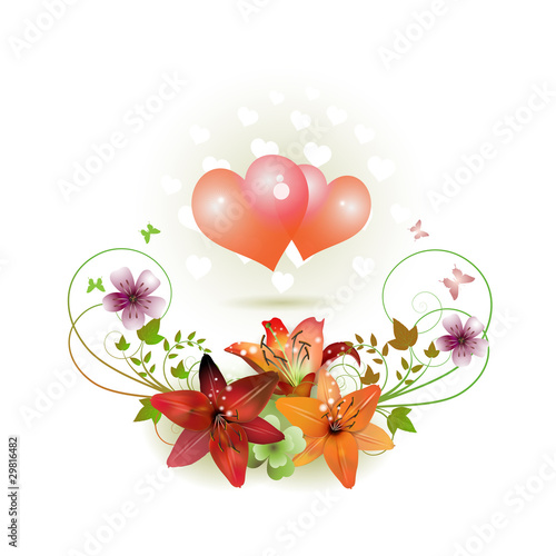 Hearts decorated with flowers for Valentine's day