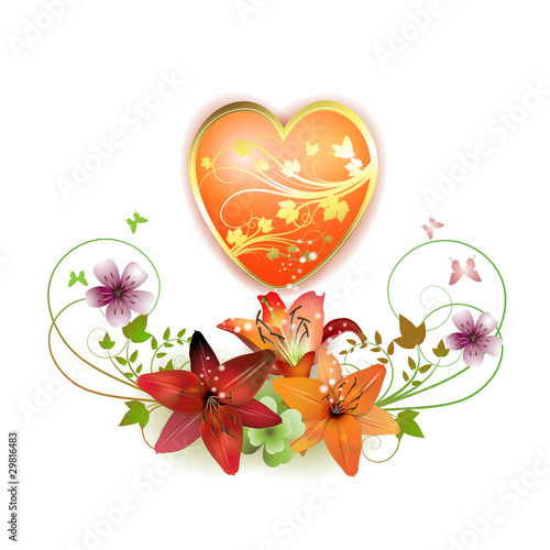Heart decorated with flowers for Valentine's day