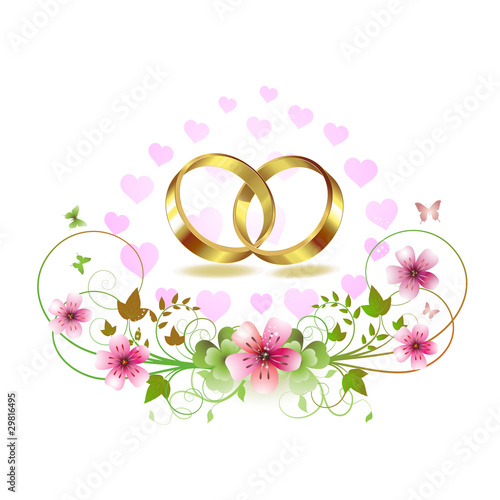 Two wedding ring with hearts and decorated flowers