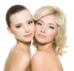 two sensuality women isolatedon white