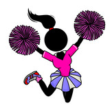 Silhouette-woman in action icon - cheerleader