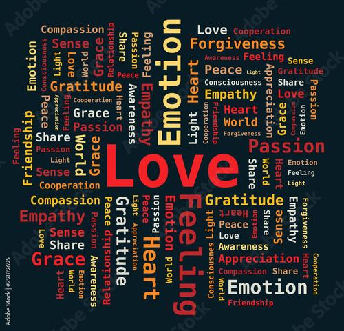 Nuage de Mots - Amour, Passion, Coeur, Gratitude en Anglais