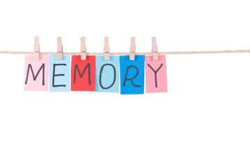 Memory, Colorful words hang on rope