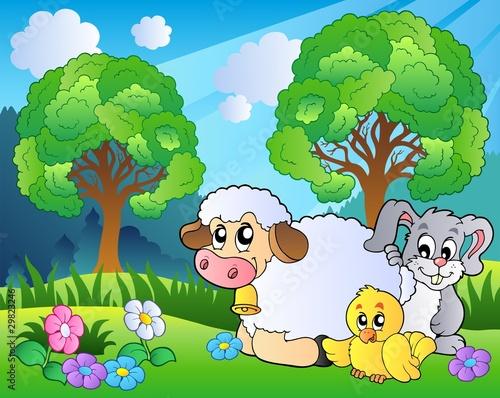 Foto op Canvas Boerderij Meadow with spring animals