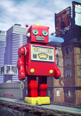 giant tin toy robot and city