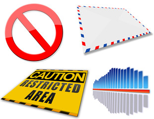 Web icons set, envelope, equalizer, caution