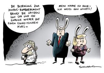 Kundusbefragung mit Merkel und Steinmeier