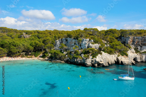 view of Macarella beach in Menorca, Balearic Islands, Spain