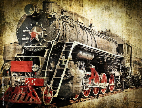 Deurstickers Rood, zwart, wit Grunge steam locomotive